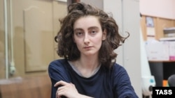 Alla Gutnikova attends a court hearing in Moscow on April 14.