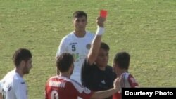 Ahtam Hamroqulov, a player for the Regar-TadAZ soccer team in Tajikistan, gets a red card -- and his water and electricity cut off.
