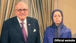 Maryam Rajavi, leader of the Iranian opposition group Mujahedin-e Khalq Organization (MKO) with former NY Mayor Rudy Giuliani.