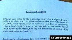 Dio pisane izjave priznanja krivice Svetozara Marovića