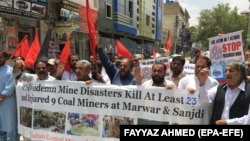 Coal miners protest against the poor working conditions after a coal mine collapsed in Quetta on May 6.