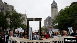 АКШ элчилиги Иерусалимде ачылышына каршылардын Вашингтондогу демонстрациясы. 14-май, 2018-жыл.