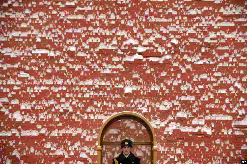 A guard stands against a snow-covered wall of the Kremlin in Moscow. (AFP/Kirill Kudryavtsev)