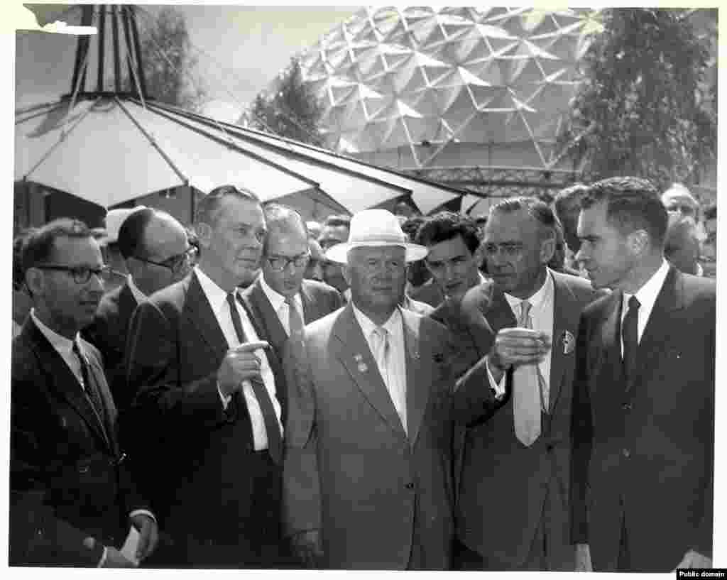 The American exhibit was opened by then-Vice President Richard Nixon (right) and Soviet leader Nikita Khrushchev (in white hat). Their impromptu debates over the merits of capitalism versus communism as they strolled through the exhibition would become legendary.