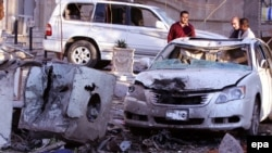 The site of today's suicide car bomb attack in Baghdad.