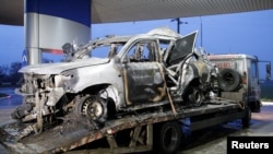 An OSCE member was killed and two were injured when the car they were traveling in drove over a landmine on April 23.