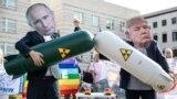 Activiști germani, protestând împotriva abolirii tratatului forțelor nucleare intermediare (INF), în fața ambasadei SUA de la Berlin, 1 august 2019