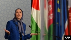 "France - President of the National Council of Resistance of Iran and Mujahedeen-e-Khalq (MEK) leader, Maryam Radjavi, speaks during a gathering ""All against the misappropriation of Islam"" in Saint-Denis, near Paris on August 3, 2013"