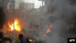 Pamje pas një shpërthimi në Damask