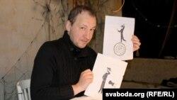 Яўген Палавінскі з эскізамі «Дзядзі Віці»