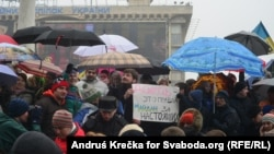 """Ukraine - Performance of Solidarity with russian TV-channel """"TV-Rain"""" during oppositional Protest Rally """"Narodne Viche"""" in the downtown of Kyiv (Kiev) at Maidan Nezalezhnosti, 09Feb2014"""