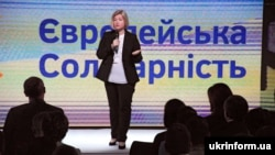 Перший заступник голови Верховної Ради України Ірина Геращенко під час з'їзду політичної партії «Європейська солідарність». Київ, 9 червня 2019 року