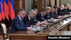 Ռուսաստան, կառավարության անդամները հանդիպում են անցկացնում երկրի նախագահ Վլադիմիր Պուտինի և վարչապետ Դմիտրի Մեդվեդևի հետ, Մոսկվա, 15 հունվարի, 2020թ.