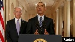 Президент США Барак Обама выступает в Восточном крыле Белого дома на пресс-конференции, посвященной соглашению по ядерной программе Ирана
