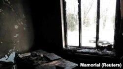 """Последствия поджога в офисе ПЦ """"Мемориал"""" в Назрани"""