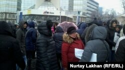 Mortgage holders protest in front of the ATF bank in Almaty on January 16