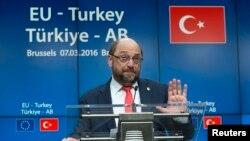 Европа Берлеге - Төркия саммитында Мартин Шульц белән матбугат очрашуы. 7 март 2016