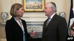 U.S. Secretary of State Rex Tillerson (right) meets with European Union foreign-policy chief Federica Mogherini at the State Department in Washington, D.C., on February 9.