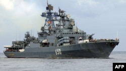 The Russian destroyer Admiral Chabanenko arrives in Havana in 2008.