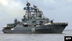 Великий протичовновий корабель «Адмірал Чабаненко» Північного флоту ВМС Росії, який очолює нинішній похід до Сирії, архівне фото