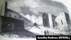 Şirvanşahlar sarayı bombardmandan sonra – XVIII-XIX əsrlər. Mənbə: I.Berezin