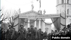 Літоўскае войска ўваходзіць у Вільню, 1939.