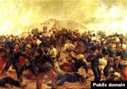 Одно из сражений Второй тихоокеанской войны. Картина перуанского художника