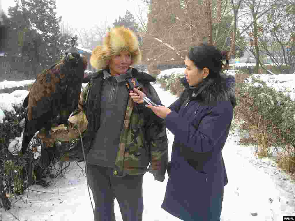 A Kazakh Service correspondent interviews a falconer and his falcon.