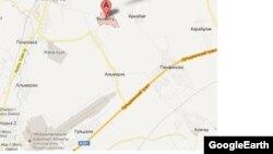 Фрагмент карты поселка Кызыл Ту в Алматинской области. 29 января 2013 года.