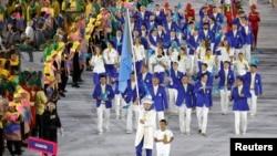 Сборная Казахстана во время церемонии открытия Олимпийских игр в Рио-де-Жанейро. 5 августа 2016 года.