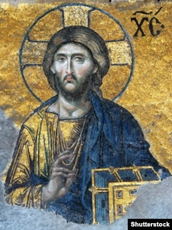 Это фрагмент мозаики Иисуса, которую ученые датируют 1261 годом