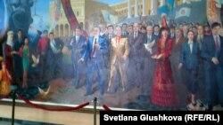 Картина с изображением президента Казахстана Нурсултана Назарбаева в холле Казахского гуманитарно-юридического университета.