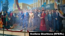 This painting featuring President Nursultan Nazarbaev in the hall of the Kazakh Humanitarian Law University in Astana has yet to be officially revealed, officials say.