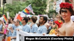A group of about 70 Russian-speaking Americans took to the streets on June 24 during New York's Gay Pride Parade.