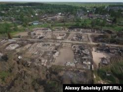 Место пожара в Перелучах, фото с дрона