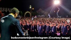 Aleksandar Vučić, predsednik Srbije, obraća se prisutnima na obeležavanju Oluje, Busije, Beograd, 4. avgust 2021.