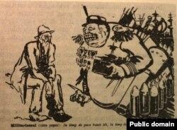 Caricatură antirăzboinică apărută în România muncitoare, 1914.