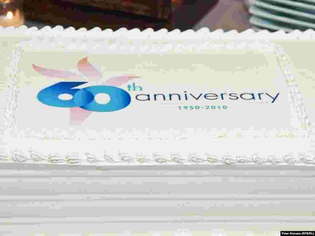 Detail of the cake served at RFE's 60th anniversary reception at the Newseum in Washington, DC, 28 September 2010