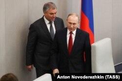 Russian State Duma Speaker Vyacheslav Volodin (left) and Russian President Vladimir Putin