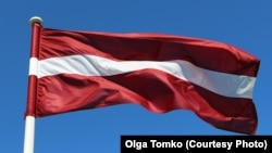 Latvia -- Latvian flag in Riga, 28Jun2015