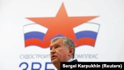 RUSSIA -- Rosneft Chief Executive Igor Sechin delivers a speech at the Zvezda shipyard in the far eastern town of Bolshoy Kamen, September 8, 2017