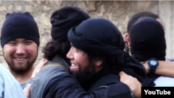 A screengrab from a 2013 YouTube video purportedly showing Kazakh jihadists in Syria