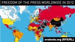 نقشه شاخص سالانه آزادی مطبوعات در جهان، ۲۰۱۱-۲۰۱۲. منتشرشده توسط گزارشگران بدون مرز