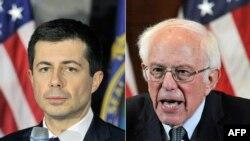 Pete Buttigieg (stânga), fost primar în South Bend, Indiana și senatorul din Vermont, Bernie Sanders