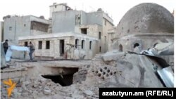 Syria - The destroyed Armenian Church of Forty Martyrs in Aleppo.
