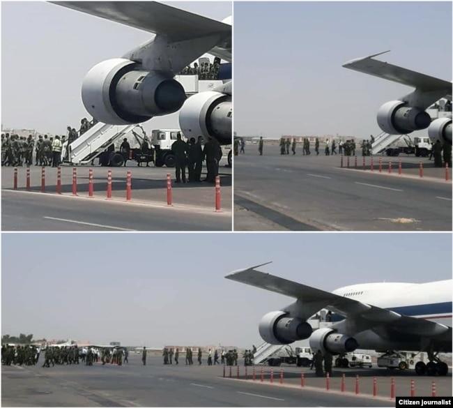 هواپیمای بوئینگ نیروی هوایی ارتش در حال انتقال نیروی ضد شورش به خوزستان برای برخورد با معترضان