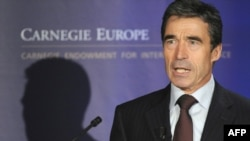 NATO Secretary-General Anders Fogh Rasmussen speaks at a press conference on NATO-Russia relations in Brussels.
