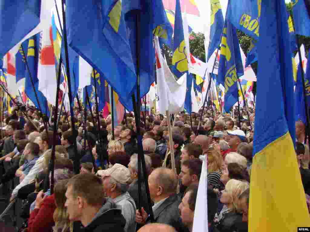 Близько трьох тисяч прихильників опозиційних сил мітингують у Маріїнському парку біля будинку парламенту проти політики Президента Віктора Януковича.