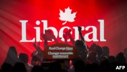Прихильники лідера Ліберальної партії Канади Джастіна Трюдо радіють після оголошення результатів виборів. Монреаль, 19 жовтня 2015 року
