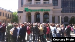 Очереди вкладчиков в Приватбанке, Симферополь, 23 апреля,2014 года